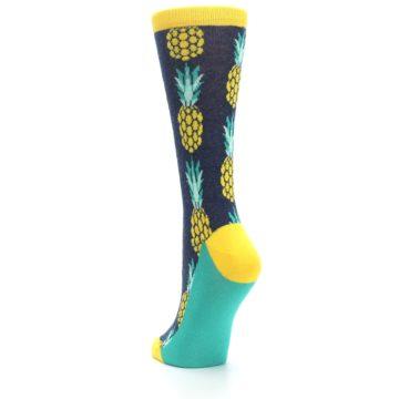 Image of Navy Yellow Pineapple Women's Dress Socks (side-2-back-16)