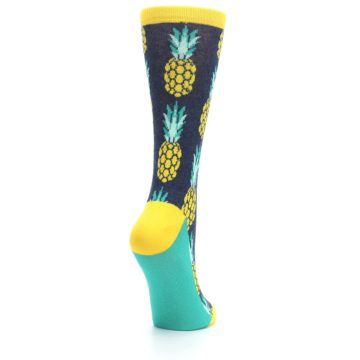 Image of Navy Yellow Pineapple Women's Dress Socks (side-1-back-21)