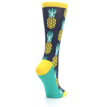 Image of Navy Yellow Pineapple Women's Dress Socks (side-1-back-22)