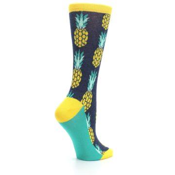 Image of Navy Yellow Pineapple Women's Dress Socks (side-1-23)