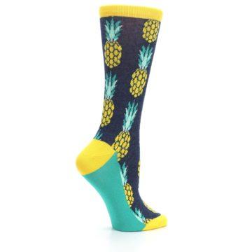 Image of Navy Yellow Pineapple Women's Dress Socks (side-1-24)