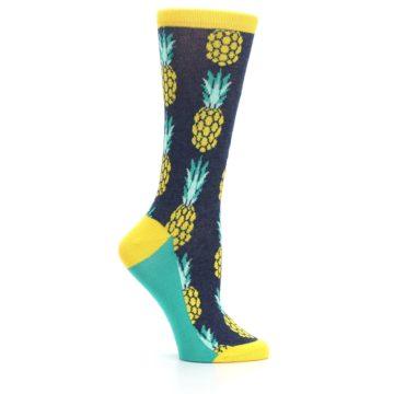 Image of Navy Yellow Pineapple Women's Dress Socks (side-1-25)