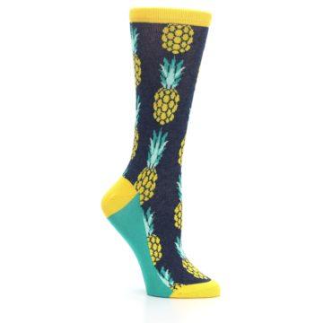 Image of Navy Yellow Pineapple Women's Dress Socks (side-1-26)