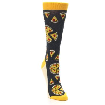 Image of Gray Yellow Pizza Women's Dress Socks (side-1-front-03)