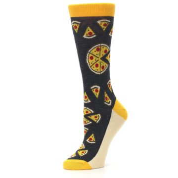 Image of Gray Yellow Pizza Women's Dress Socks (side-2-10)