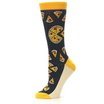 Image of Gray Yellow Pizza Women's Dress Socks (side-2-11)
