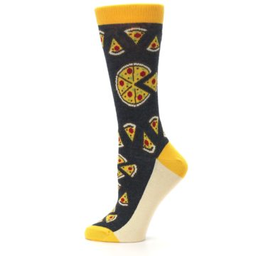 Image of Gray Yellow Pizza Women's Dress Socks (side-2-12)