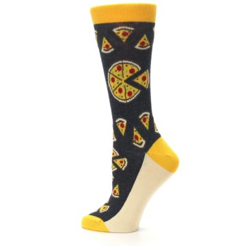 Image of Gray Yellow Pizza Women's Dress Socks (side-2-13)