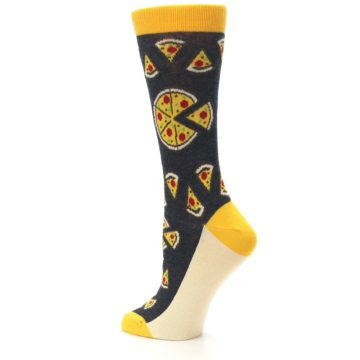 Image of Gray Yellow Pizza Women's Dress Socks (side-2-back-14)
