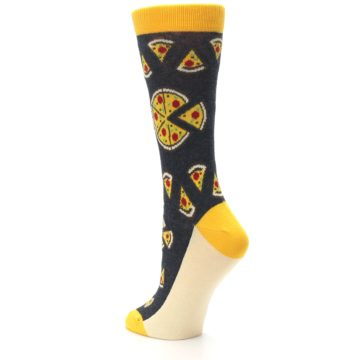Image of Gray Yellow Pizza Women's Dress Socks (side-2-back-15)