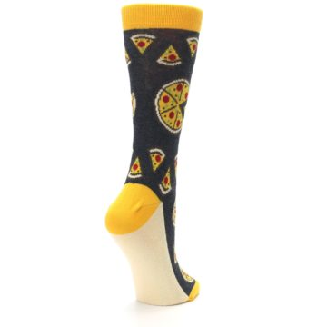 Image of Gray Yellow Pizza Women's Dress Socks (side-1-back-22)