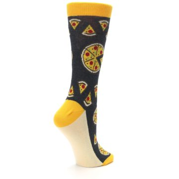 Image of Gray Yellow Pizza Women's Dress Socks (side-1-23)