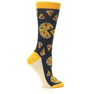 Image of Gray Yellow Pizza Women's Dress Socks (side-1-25)