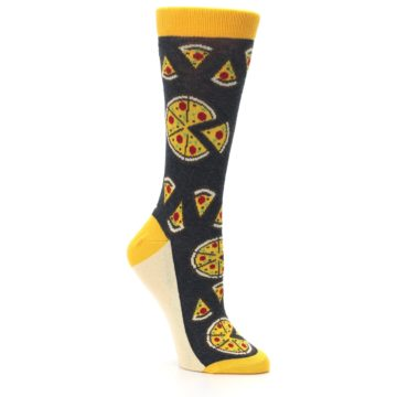 Image of Gray Yellow Pizza Women's Dress Socks (side-1-27)
