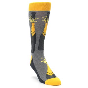 Image of Yellow Pop the Champagne Men's Dress Socks (side-1-front-02)