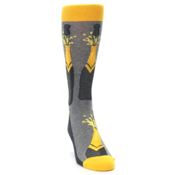 Image of Yellow Pop the Champagne Men's Dress Socks (side-1-front-03)