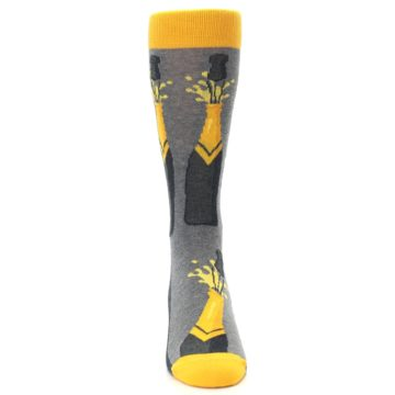 Image of Yellow Pop the Champagne Men's Dress Socks (front-04)
