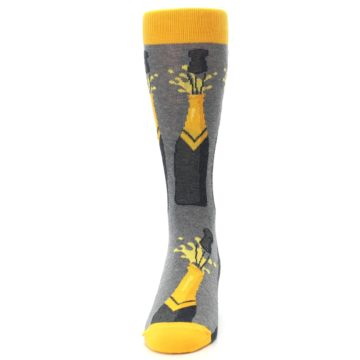 Image of Yellow Pop the Champagne Men's Dress Socks (front-05)