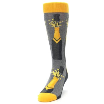 Image of Yellow Pop the Champagne Men's Dress Socks (side-2-front-06)