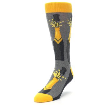 Image of Yellow Pop the Champagne Men's Dress Socks (side-2-front-07)