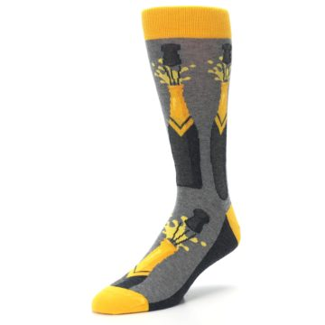 Image of Yellow Pop the Champagne Men's Dress Socks (side-2-front-08)