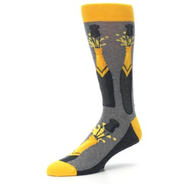 Image of Yellow Pop the Champagne Men's Dress Socks (side-2-09)
