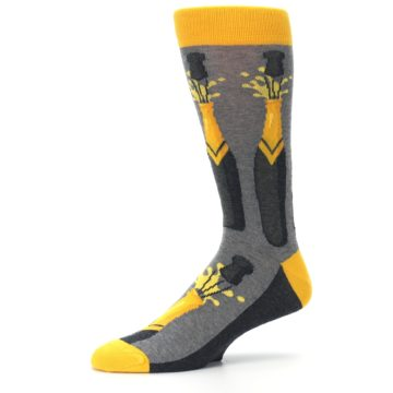 Image of Yellow Pop the Champagne Men's Dress Socks (side-2-10)