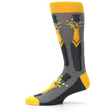 Image of Yellow Pop the Champagne Men's Dress Socks (side-2-11)