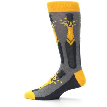 Image of Yellow Pop the Champagne Men's Dress Socks (side-2-12)