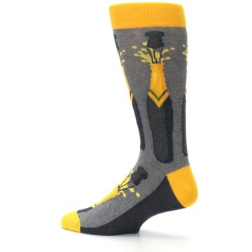 Image of Yellow Pop the Champagne Men's Dress Socks (side-2-13)