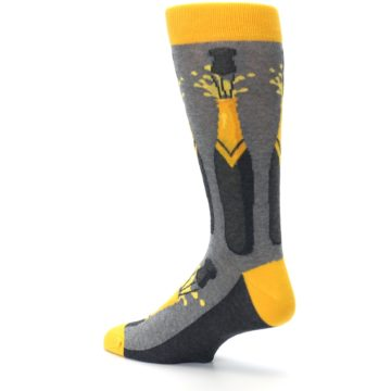 Image of Yellow Pop the Champagne Men's Dress Socks (side-2-back-14)