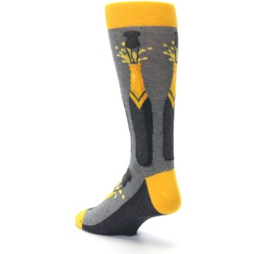 Image of Yellow Pop the Champagne Men's Dress Socks (side-2-back-15)