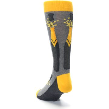 Image of Yellow Pop the Champagne Men's Dress Socks (side-2-back-16)