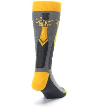 Image of Yellow Pop the Champagne Men's Dress Socks (side-1-back-20)