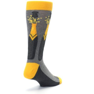 Image of Yellow Pop the Champagne Men's Dress Socks (side-1-back-21)
