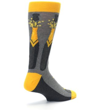 Image of Yellow Pop the Champagne Men's Dress Socks (side-1-back-22)
