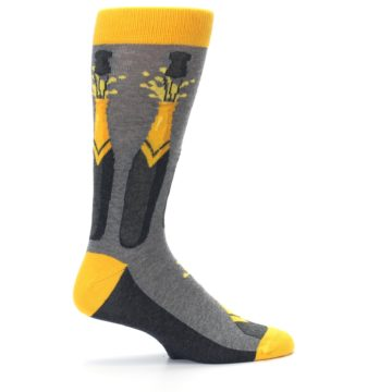Image of Yellow Pop the Champagne Men's Dress Socks (side-1-24)