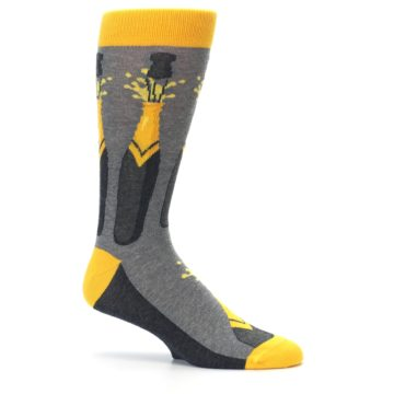 Image of Yellow Pop the Champagne Men's Dress Socks (side-1-25)