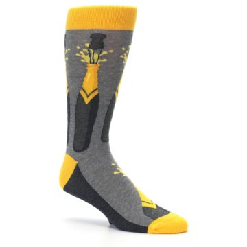 Image of Yellow Pop the Champagne Men's Dress Socks (side-1-26)