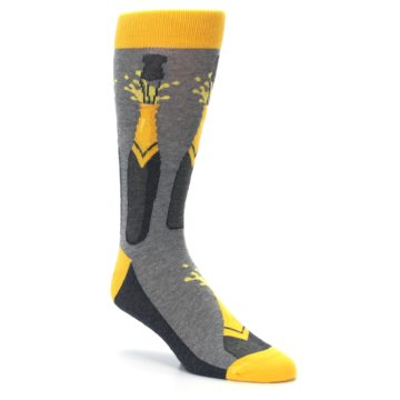 Image of Yellow Pop the Champagne Men's Dress Socks (side-1-27)