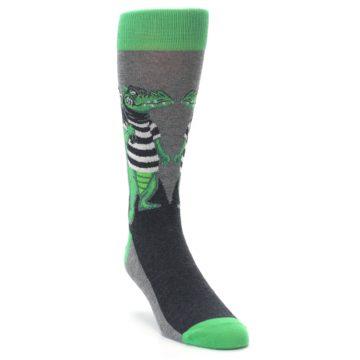 Image of Green Gray Crook-o-dile Bank Robber Men's Dress Socks (side-1-front-02)