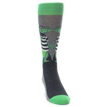 Image of Green Gray Crook-o-dile Bank Robber Men's Dress Socks (side-1-front-03)