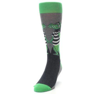 Image of Green Gray Crook-o-dile Bank Robber Men's Dress Socks (side-2-front-06)