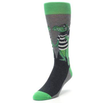 Image of Green Gray Crook-o-dile Bank Robber Men's Dress Socks (side-2-front-07)