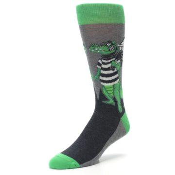 Image of Green Gray Crook-o-dile Bank Robber Men's Dress Socks (side-2-front-08)