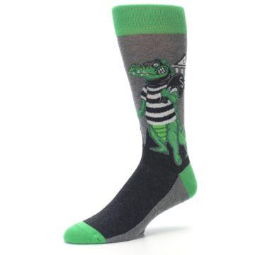 Image of Green Gray Crook-o-dile Bank Robber Men's Dress Socks (side-2-09)