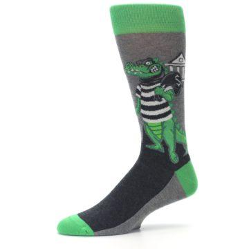 Image of Green Gray Crook-o-dile Bank Robber Men's Dress Socks (side-2-10)
