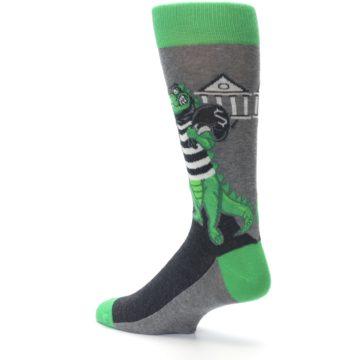 Image of Green Gray Crook-o-dile Bank Robber Men's Dress Socks (side-2-back-14)