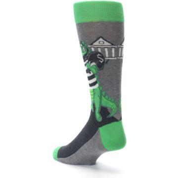 Image of Green Gray Crook-o-dile Bank Robber Men's Dress Socks (side-2-back-15)