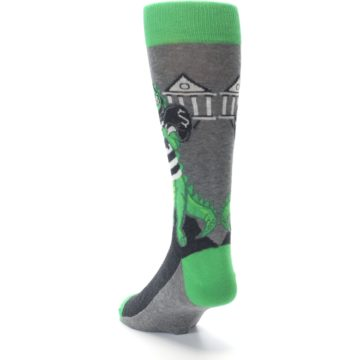 Image of Green Gray Crook-o-dile Bank Robber Men's Dress Socks (side-2-back-16)